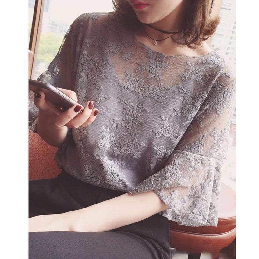 เสื้อใส่ทำงาน ใส่เที่ยว ผ้าลูกไม้ซีทรูพร้อมสายเดี่ยวซับใน Minimal Korean Style (สีเทา)