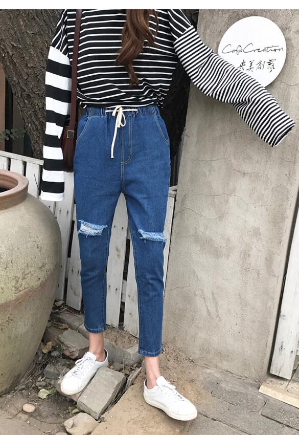 Mm กางเกงบุหรี่กางเกงยีนส์สีดำใหม่กางเกงเอวสูงฮาเร็ม (สีน้ำเงินเข้ม)
