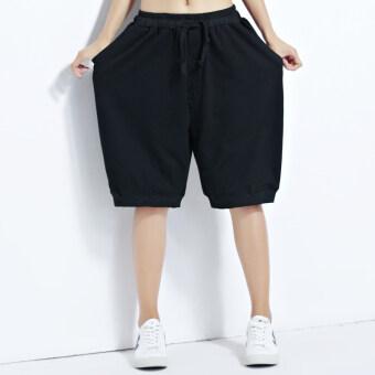 MM เกาหลีหญิงฮาเร็มกางเกงกางเกงขาสั้นสบายๆ (สีดำ) (สีดำ)