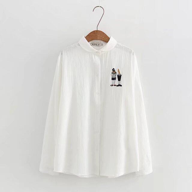 MM เกาหลีผ้าฝ้ายเนื้อครอบครองเสื้อ (สีขาว)