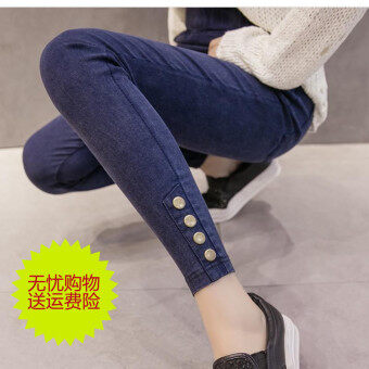 MM200 หญิงฤดูร้อนยืดหยุ่นสูงฟุตกางเกงเอวกางเกงยีนส์ (ผ้ายีนส์สีดำ)