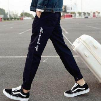 Mod กางเกงเอวยางยืดเชือก มีซิปข้าง 2 กระเป๋า (สีดำ) รุ่น 014