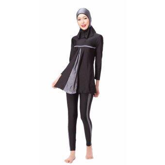 ชุดว่ายน้ำอิสลามอิสลามชุดว่ายน้ำ Hijab ชุดว่ายน้ำเต็มรูปแบบ ชุดว่ายน้ำมุสลิมชุดว่ายน้ำชุดว่ายน้ำกีฬา ชุดสีเทา