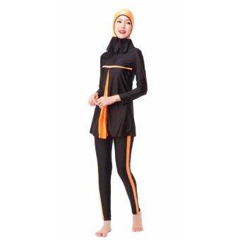 ชุดว่ายน้ำอิสลามอิสลามชุดว่ายน้ำ Hijab ชุดว่ายน้ำเต็มรูปแบบ ชุดว่ายน้ำมุสลิมชุดว่ายน้ำชุดว่ายน้ำกีฬา ชุดสีส้ม