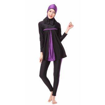 ชุดว่ายน้ำที่นับถือศาสนาอิสลามชุดว่ายน้ำอิสลามชุดว่ายน้ำสตรี Hijab ชุดว่ายน้ำเต็มรูปแบบชุดว่ายน้ำมุสลิมชุดว่ายน้ำชุดว่ายน้ำชุดกีฬาเครื่องแต่งกายสีม่วง