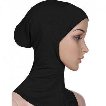 Moonar หญิงมุสลิมสวมผ้าคลุมหัวแบบอิสลามใส่ผ้าฝ้ายคอปกฮิญาบ (สีดำ)