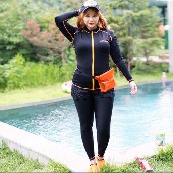 Mosha Fashions ชุดว่ายน้ำไซส์ใหญ่ เซ็ท 5 ชิ้น แขนยาว ขายาว (สีดำ) รหัส FWT8001