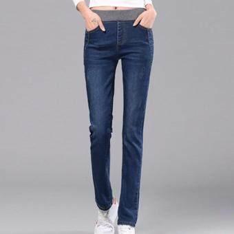 MoshaFashions กางเกงยีนส์ผู้หญิง ขายาว เอวยืด (สีน้ำเงิน) รหัส FTO7804