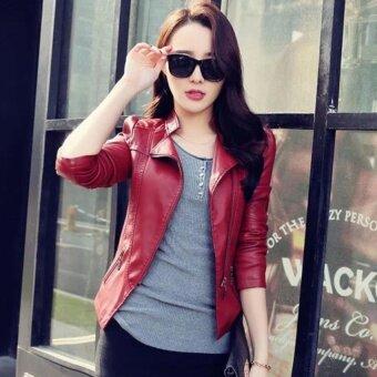 MU Women แฟชั่นสไตล์เกาหลีหัวรถจักรหนังแจ็คเก็ต Ladiesgirl PU หนังเสื้อแขนยาว Outerwear Coat-Wine RED
