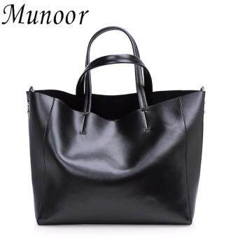 Munoor Womens Tote Bags 100% Genuine Cowhide Leather Fashionable Shoulder Lady Bags Handbags for Travel (Black) - intl