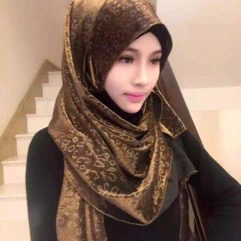 Muslim fashion scarf leopard gold scarring printing scarf(khaki) -intl