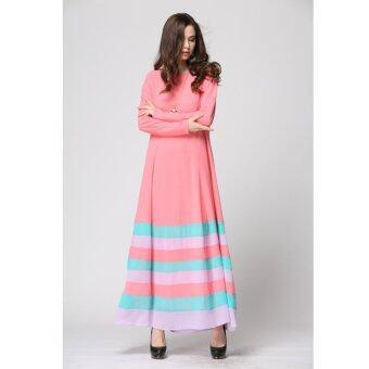 Muslim Women Long-sleeved Rainbow Stripe Dress (Pink)