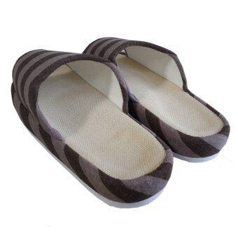Nampet Shop รองเท้าผ้าคอตต้อนผ้ายืดลายขวางสไตล์ญี่ปุ่นสำหรับใส่เดินในบ้าน - Coffee (Men) - 4