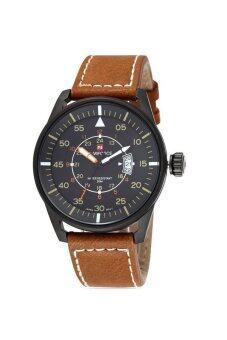 ราคา NAVIFORCE นาฬิกาผู้ชาย สีน้ำตาลขอบดำ สายหนัง รุ่น NF-99044M-BBY