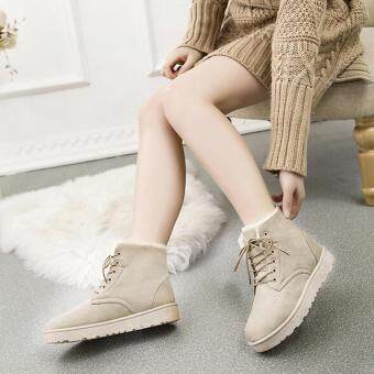 New Fashion Women Round Toe Ankle Boots Shoes Flat With Lace UpBoots(Khaki) - intl