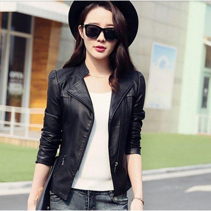 New Fashion Women Slim Motorcycle Jacket Biker Coat Leather Jackets Short Outerwear Coat(black) - intl