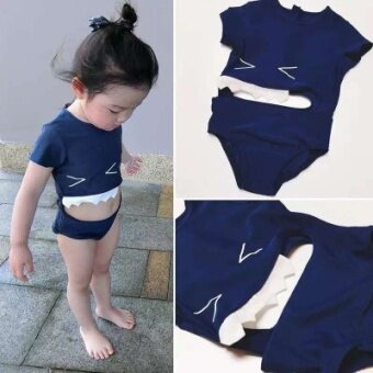 New men and women children babies sharks Siamese swimming suits boys babies conjoined swimming suits hot springs - intl