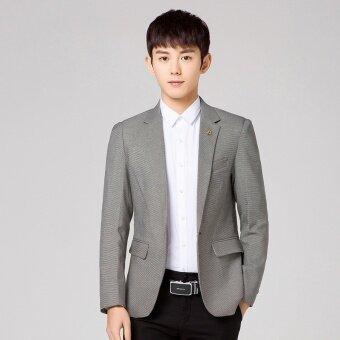 (New) men Korean casual suit fashion long sleeve suit jacket(Grey) - intl