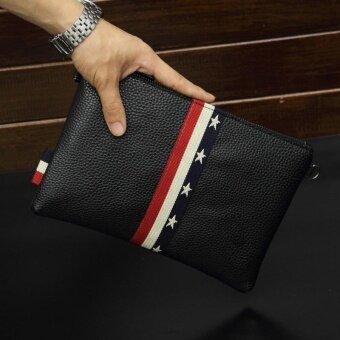 New Men Popular Design Vertical Stripe Grain Envelope Handbag Envelope Bag Large Capability Portable Business Bag Single Zipper Leisure Clutch(Black) - intl