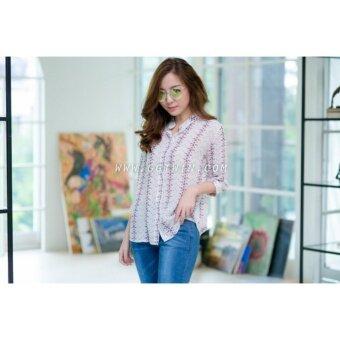 New New 4992 Top shirt คอจีนลายกราฟฟิค อก 38'' ไหล่ 14.5'' วงเเขน 19'' ยาว 24''