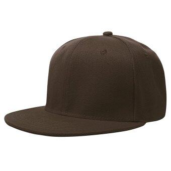 NEW RETRO Plain Fitted Cap New Baseball Hat Solid Flat Bill VisorBlank Color Coffee - intl