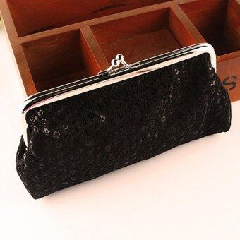 New Women Lovely Style Lady Wallet Hasp Sequins Purse Clutch BagBlack - intl