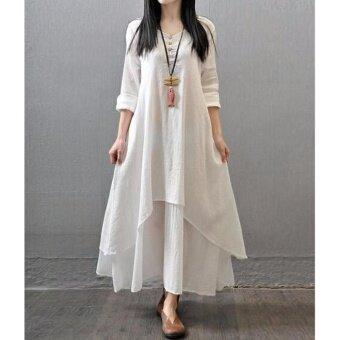 New Women Plus Size Loose Long Cotton Linen V-Neck Side Pocket Dress Long Sleeve Maxi Dress (White) - intl