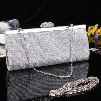 NEW WOMENS SPARKLY GLITTER CLUTCH BAG SILVER GOLD BRIDAL PROM PARTY PURSE Silver - intl