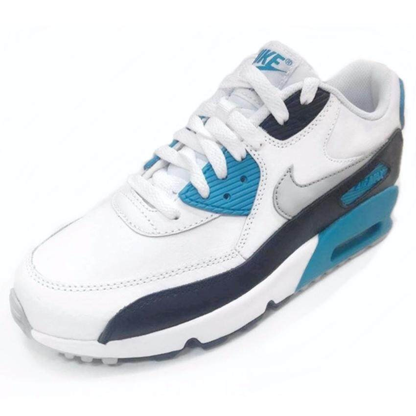 check ราคา Nike รองเท้าแฟชั่นเด็ก Nike Air Max 90 LTR (GS) 833412-101 (White/Natural Grey/Black-Blue Lagoon)