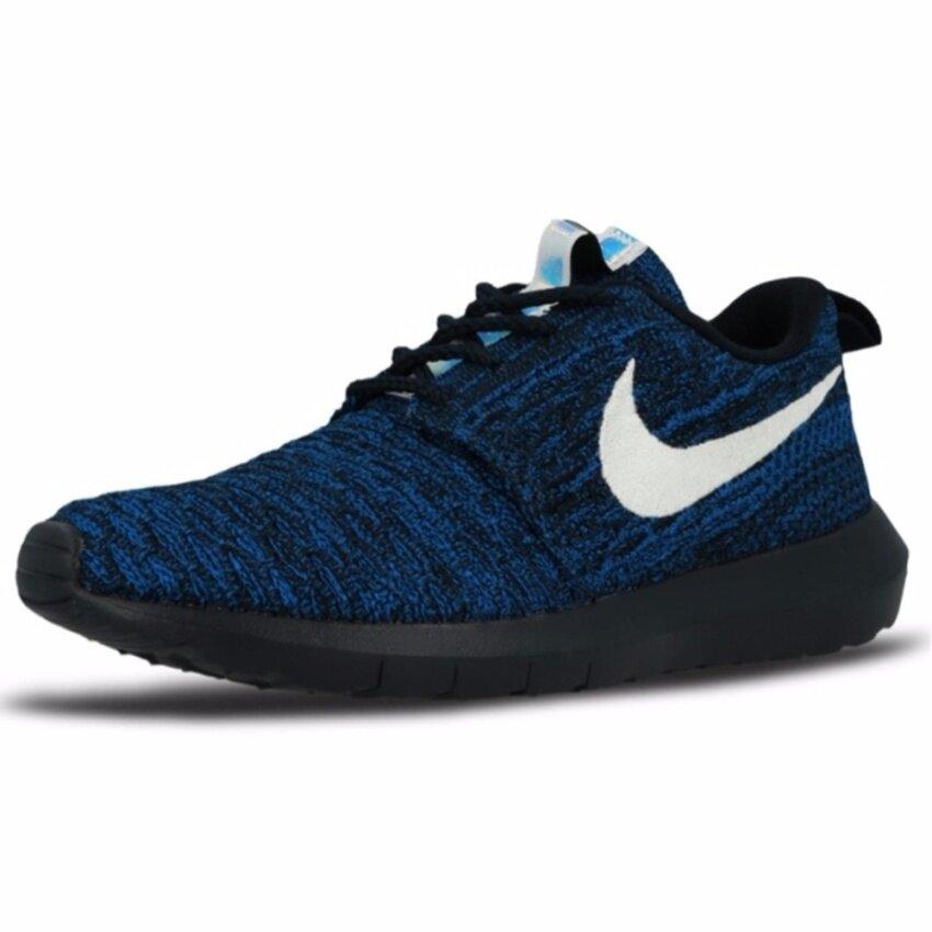 Nike รองเท้าแฟชั่นผู้ชาย Nike Roshe NM Flyknit 677243-404 (Dark Obsidian/White/Racer Blue)