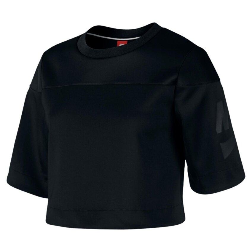 Nike ผู้หญิง Women (โปรดเทียบไซด์เสื้อตามตาราง) เสื้อฟิตเนส เสื้อลำลอง เสื้อวิ่ง เสื้อเที่ยว เสื้อบาส เสื้อใส่สบาย เสื้อบอล เสื้อยืด เสื้อโปโล เสื้อ รุ่น Nike IRREVERENT CROP TOP BLACK