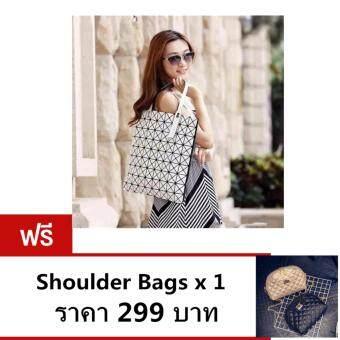 กระเป๋าสะพาย กระเป๋าสะพายข้างสีดำสำหรับผู้หญิง No.0208 - Silver แถมShoulder Bags x 1