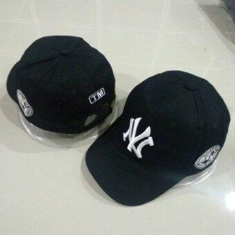หมวกแก๊ปปีกโค้ง NY (ดำ)