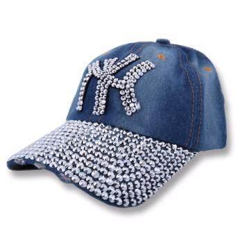 หมวกแก๊ปยีนส์แฟชั่นผู้หญิงลาย NY ประดับคริสตัล (สียีนส์)