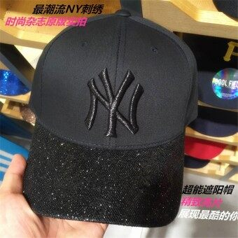 NY Style Black Baseball Hat Sequins Curved Eaves Unisex Korean Tide Spring and Summer Casual Cap Travel Visor - intl