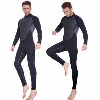 ชายกลางแจ้ง 3 มิลลิเมตรครึ่งดำน้ำชุดว่ายน้ำ Neoprene ชุดว่ายน้ำ (สีดำ)