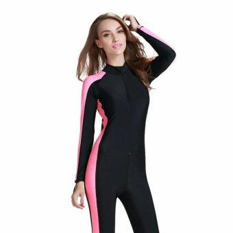 Ocean NEW Lady conjoined bathing suit Uv protection Long sleeve Diving suit(Black pink) - intl