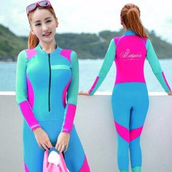 Ocean NEW Lady conjoined Diving suit Large code long sleeve Surfing clothes(Blue) - intl