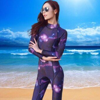 Ocean NEW Lady Long sleeve conjoined Diving suit Surfing clothes 3 mm To keep warm(starry sky) - intl