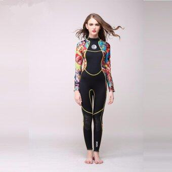 Ocean NEW Lady Long sleeve conjoined Diving suit Swimming surfing clothes( Black + flower) - intl