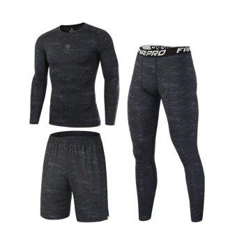 Ocean New Men กีฬาฐานชั้น 3 ชิ้นการเคลื่อนไหวที่น่าทึ่ง แห้งเร็วดูดซึมความชุ่มชื่นวิ่งกีฬา เสื้อ + กางเกงขาสั้น + กางเกง (สีดำ)