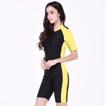Ocean NEW Unisex conjoined Diving suit With short sleeves Prevent bask Bathing suit(Black yellow) - intl