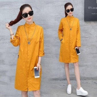 Ocean New Women Fashion Dresses Han edition Lapel Single breastedMedium length Thin shirt Dress(Yellow) - intl