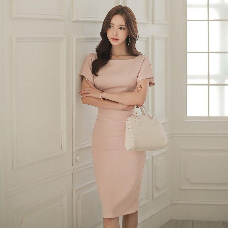 เกาหลี OL อารมณ์เชือกแขวนคอชุด (สีชมพู) (สีชมพู)