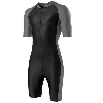 One-piece Men's Swimming Diving suit SURFING SUIT Wetsuit Bathing suit Equipment Short sleeve Wetsuits (Black and Grey) - intl