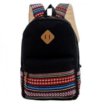 Open กระเป๋าเป้สะพายหลัง กระเป๋าลายผ้าซินชาวเหนือ รุ่นMM (สีดำ)