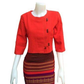 Orawan Closet เสื้อผ้าฝ้ายพื้นเมือง ลายอองชาน (สีแดง)