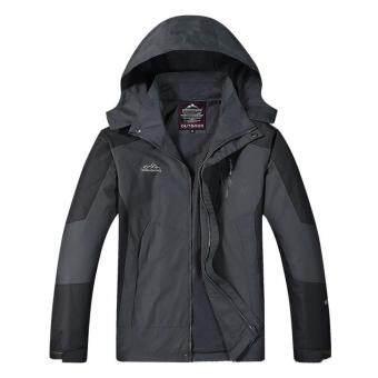 ซื้อ/ขาย Outdoor Jacket เสื้อแจ็คเก๊ต กีฬา กันน้ำ สำหรับท่องเที่ยว เดินป่า camping สำหรับผู้ชาย รุ่น S16 (สีเทาดำ)