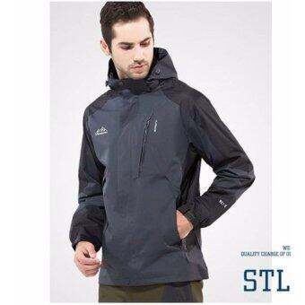 Outdoor Jacket เสื้อแจ็คเก๊ต กีฬา กันน้ำ สำหรับท่องเที่ยว เดินป่า camping สำหรับผู้ชาย รุ่น S16 (สีเทาดำ)