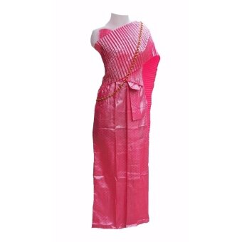 ชุดไทย ชุดสไบ สีชมพู ชุดรำไทย รำถวายพระพร ชุดงานลอยกระทงพร้อมสร้อยสังวาลย์ ชุดไทยแก้บน Outfit Party งานแฟนซี ชุดแฟนซีผ้าถุงสำเร็จรูป ชุดไทยสำเร็จรูป